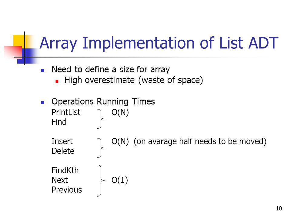 10 Array Implementation of List ADT Need to define a size for array High overestimate (waste of space) Operations Running Times PrintList O(N) Find In