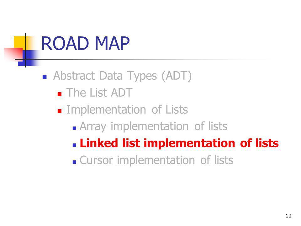 12 ROAD MAP Abstract Data Types (ADT) The List ADT Implementation of Lists Array implementation of lists Linked list implementation of lists Cursor im