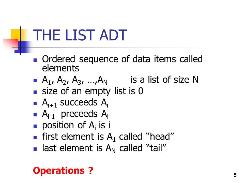 5 THE LIST ADT Ordered sequence of data items called elements A 1, A 2, A 3, …,A N is a list of size N size of an empty list is 0 A i+1 succeeds A i A