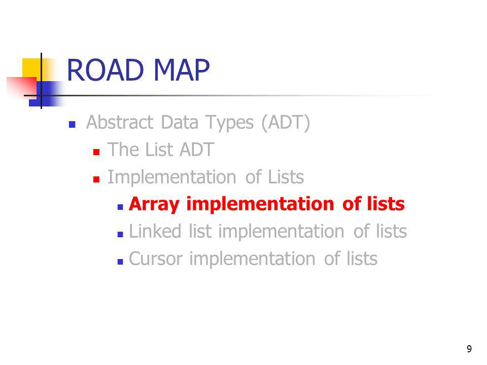 9 ROAD MAP Abstract Data Types (ADT) The List ADT Implementation of Lists Array implementation of lists Linked list implementation of lists Cursor imp