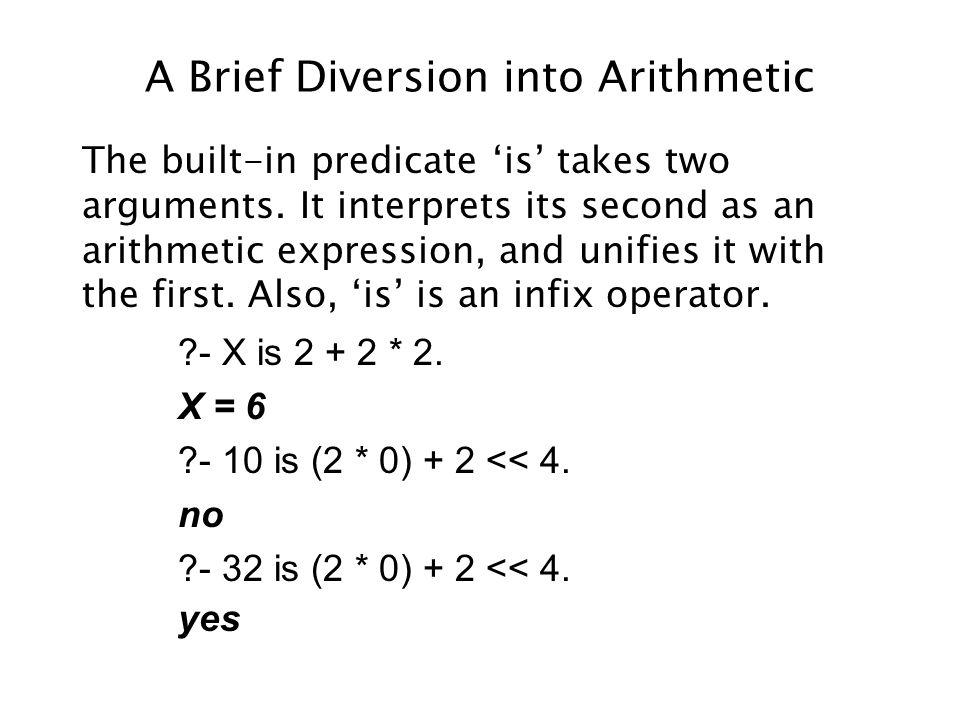 A Brief Diversion into Arithmetic The built-in predicate is takes two arguments.