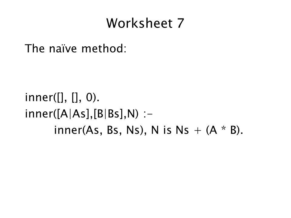 Worksheet 7 The naïve method: inner([], [], 0).