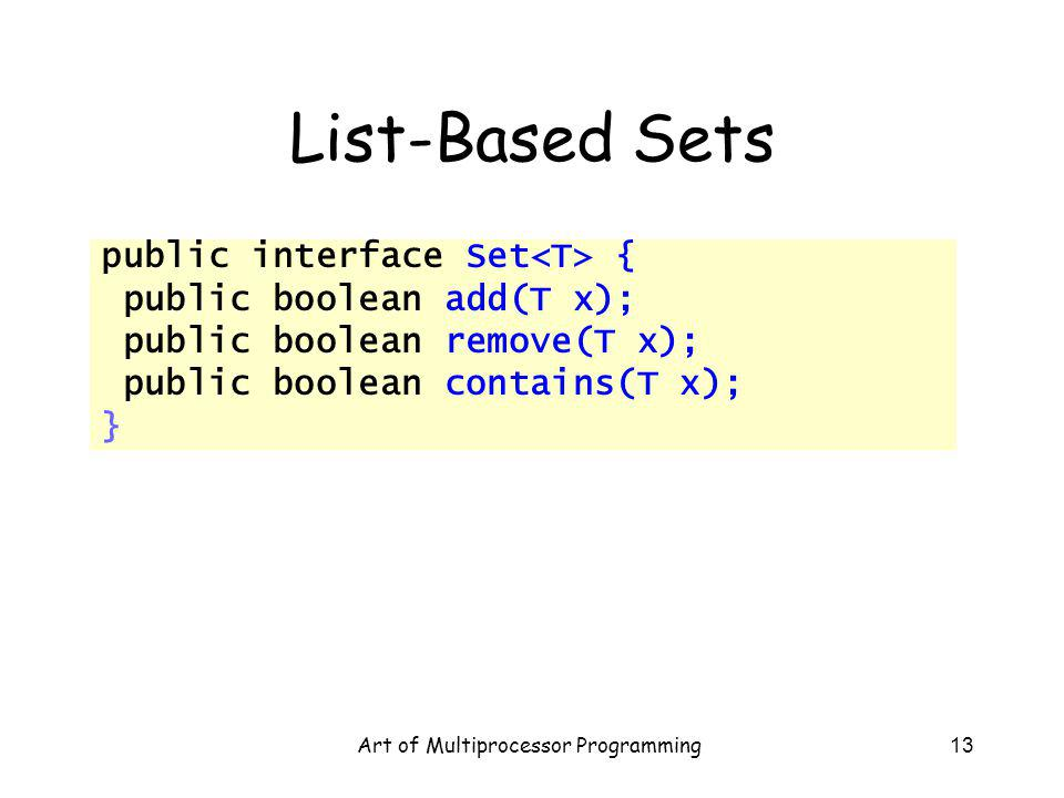 Art of Multiprocessor Programming13 List-Based Sets public interface Set { public boolean add(T x); public boolean remove(T x); public boolean contains(T x); }