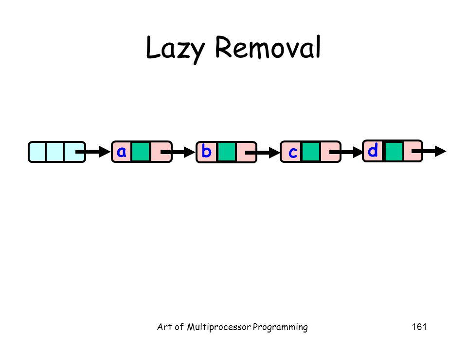 Art of Multiprocessor Programming161 Lazy Removal aa b c d