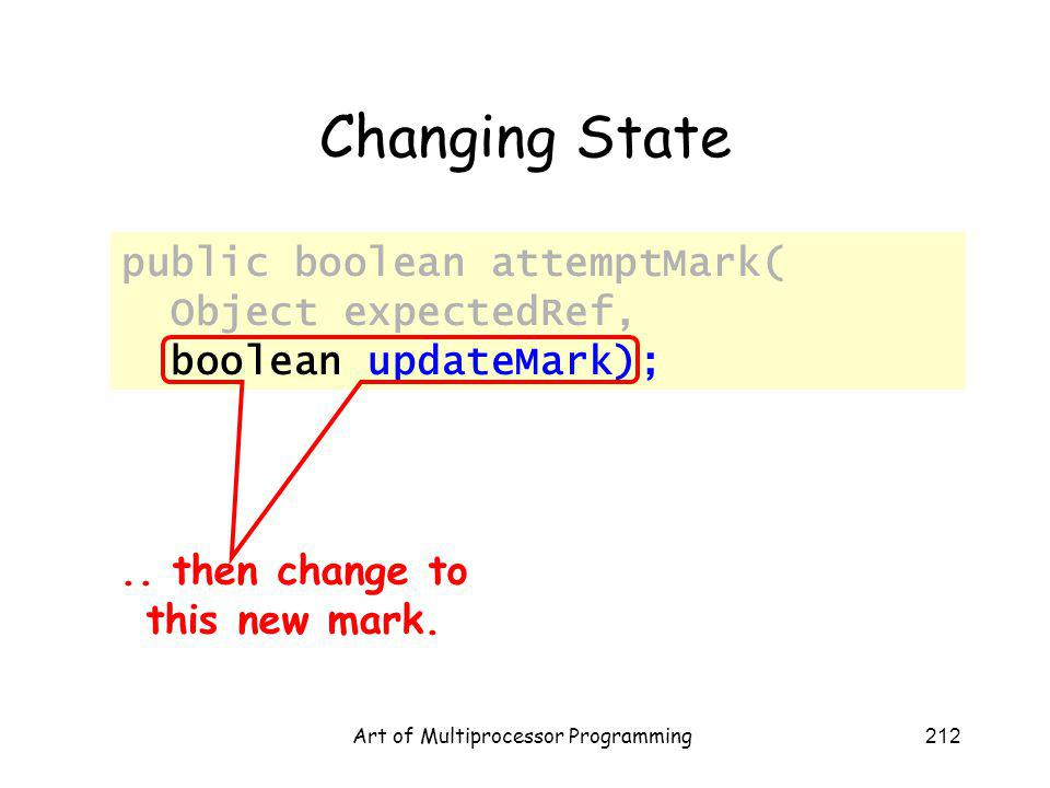 Art of Multiprocessor Programming212 Changing State public boolean attemptMark( Object expectedRef, boolean updateMark);.. then change to this new mar