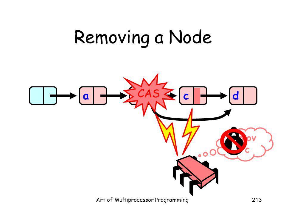Art of Multiprocessor Programming213 Removing a Node abcd remov e c CAS