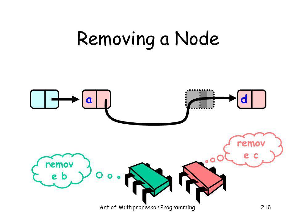 Art of Multiprocessor Programming216 Removing a Node ad remov e b remov e c