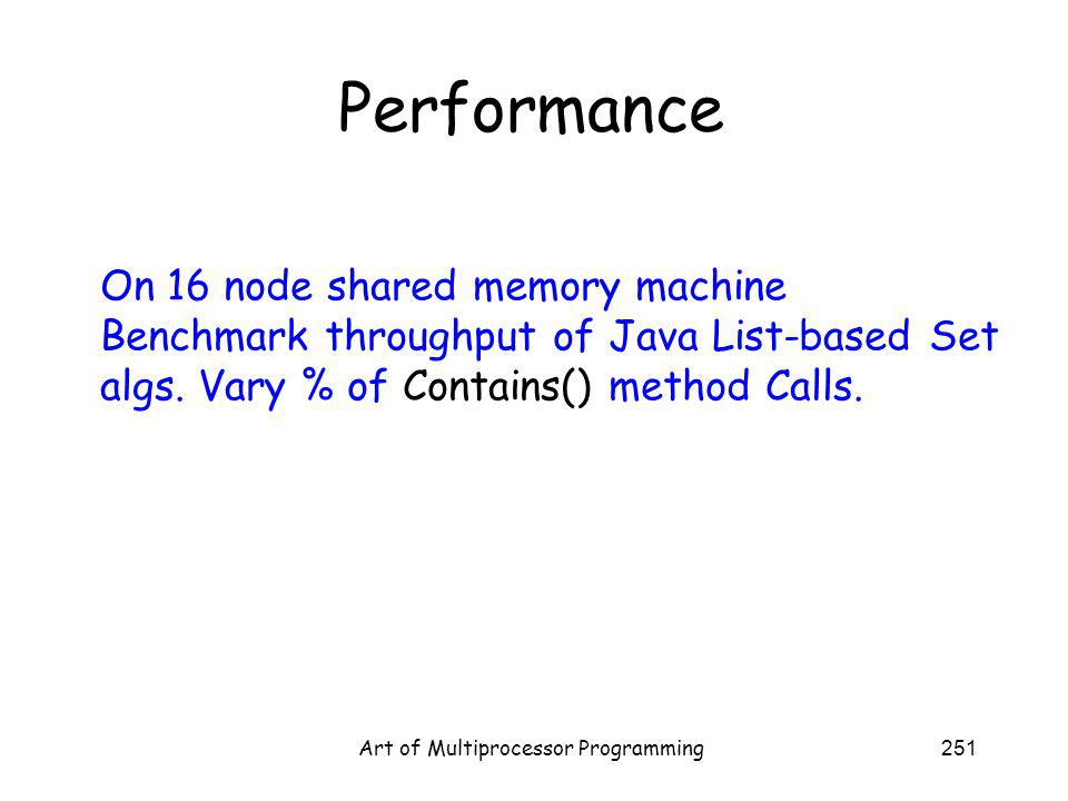 Art of Multiprocessor Programming251 Performance On 16 node shared memory machine Benchmark throughput of Java List-based Set algs.
