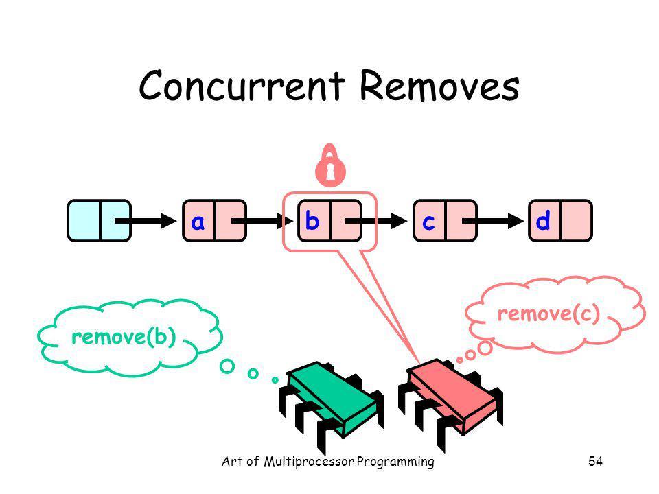 Art of Multiprocessor Programming54 Concurrent Removes abcd remove(b) remove(c)