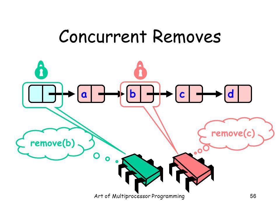Art of Multiprocessor Programming56 Concurrent Removes abcd remove(b) remove(c)