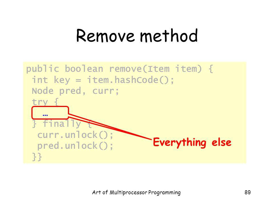 Art of Multiprocessor Programming89 Remove method public boolean remove(Item item) { int key = item.hashCode(); Node pred, curr; try { … } finally { curr.unlock(); pred.unlock(); }} Everything else