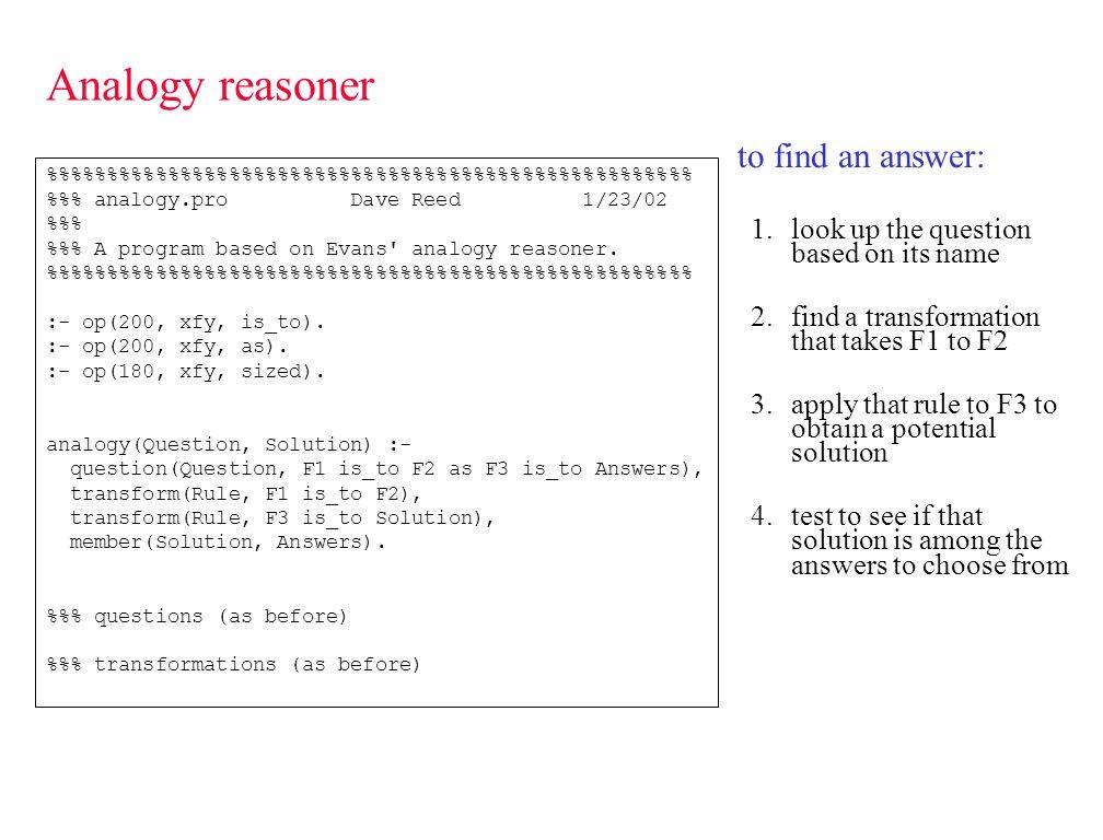 Analogy reasoner ?- analogy(q1, Answer).