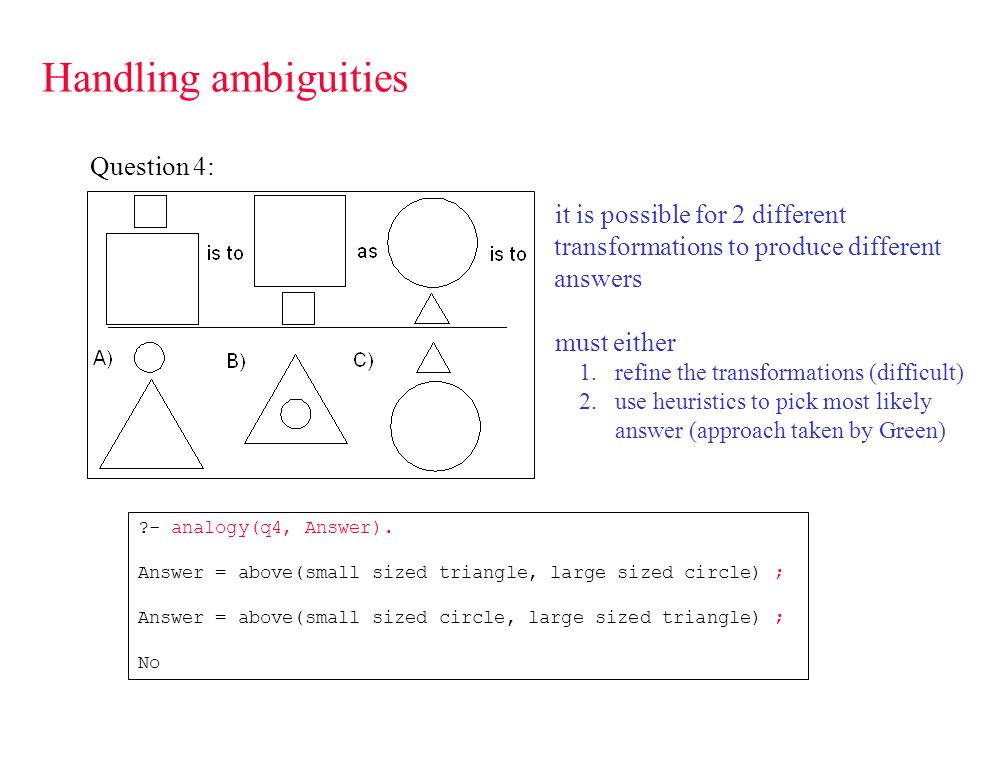 Handling ambiguities Question 4: - analogy(q4, Answer).