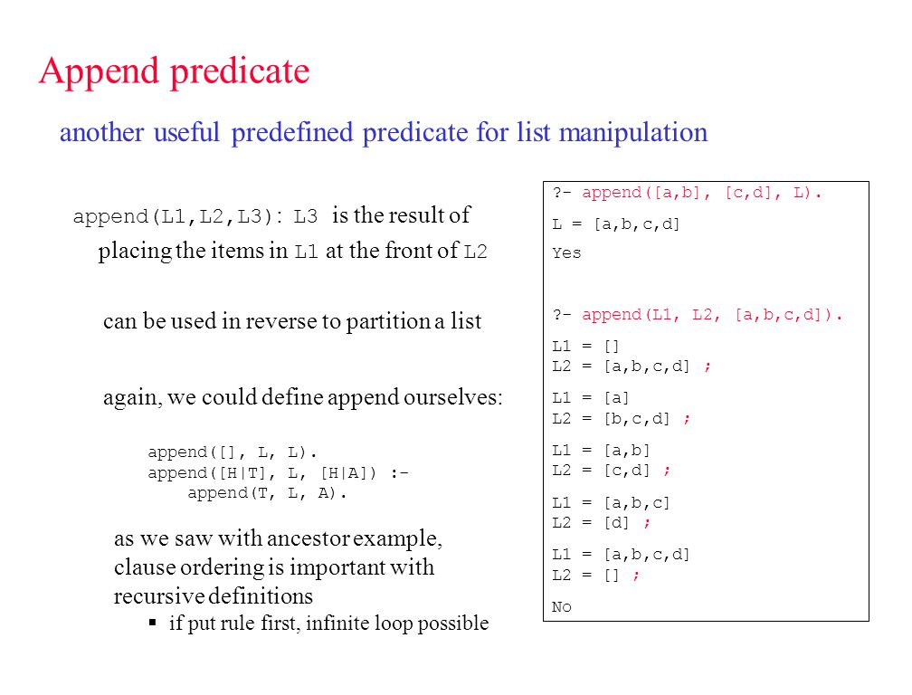 Other list predicates ?- L = [a,b,c,d], length(L, Len), nth1(Len, L, X).