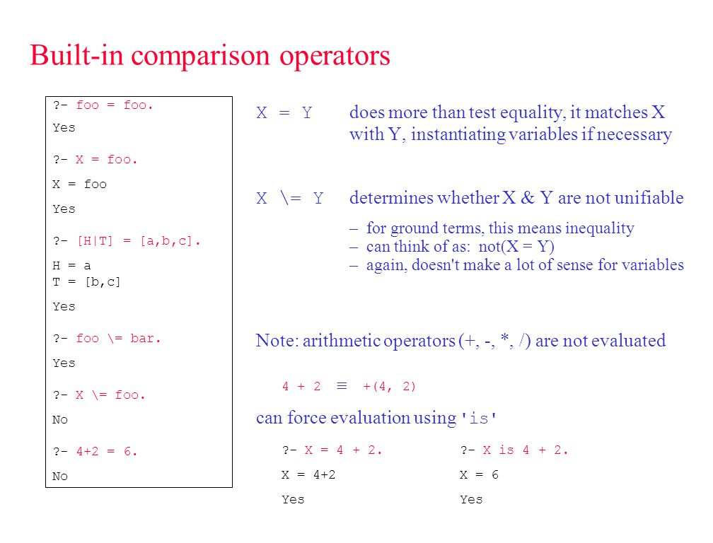 Arithmetic operations arithmetic comparisons automatically evaluate expressions X =:= Y X and Y must both be arithmetic expressions (no variables) X =\= Y X > Y ?- 12 =:= 6+6.