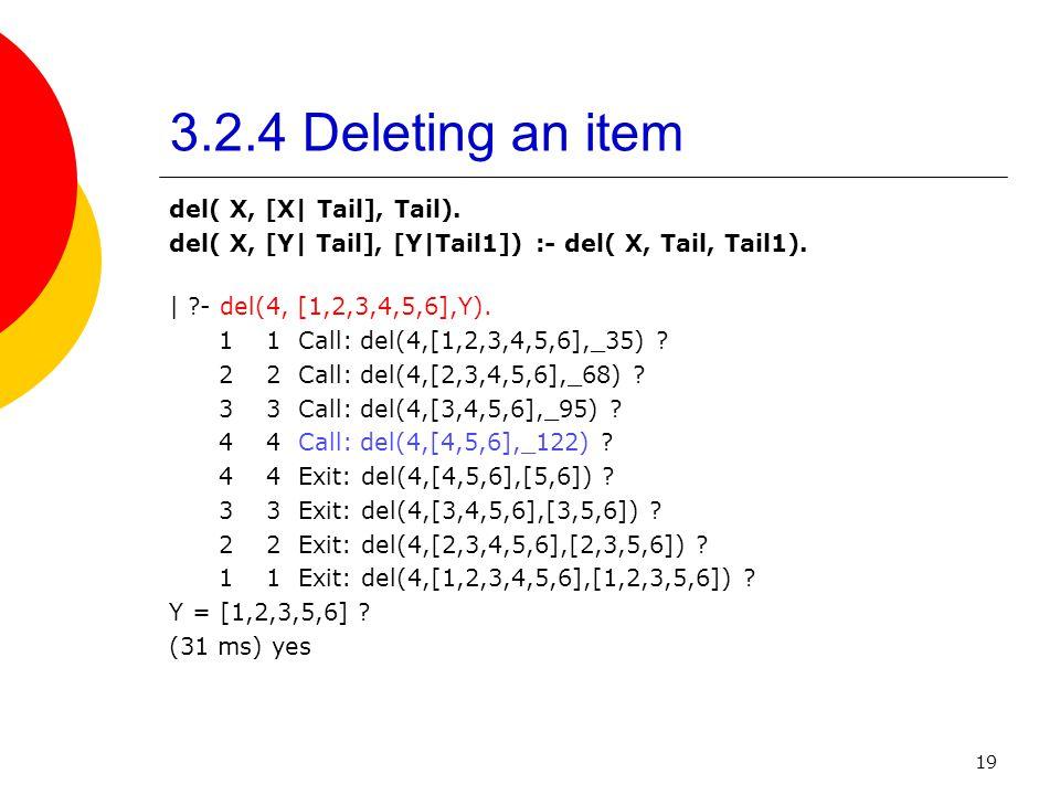 19 3.2.4 Deleting an item del( X, [X| Tail], Tail). del( X, [Y| Tail], [Y|Tail1]) :- del( X, Tail, Tail1). | ?- del(4, [1,2,3,4,5,6],Y). 1 1 Call: del