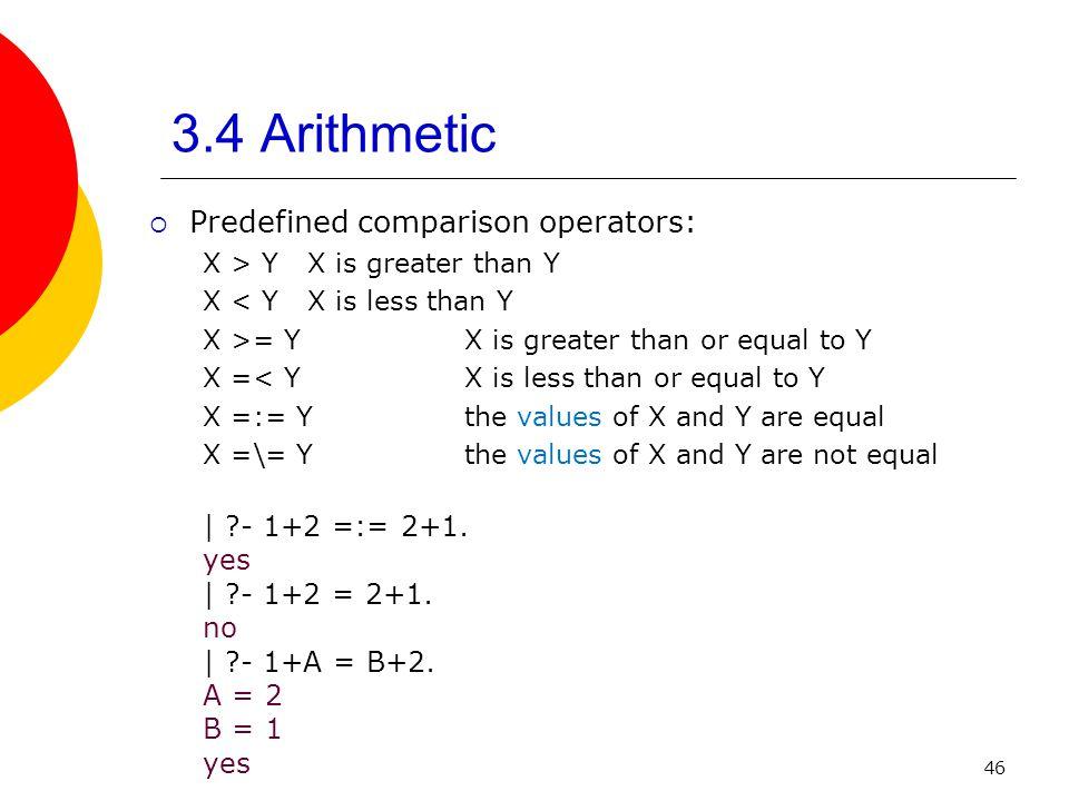 46 3.4 Arithmetic Predefined comparison operators: X > YX is greater than Y X < YX is less than Y X >= Y X is greater than or equal to Y X =< Y X is l