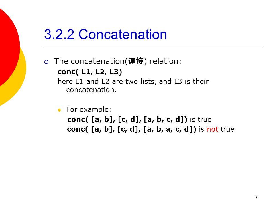 9 3.2.2 Concatenation The concatenation( ) relation: conc( L1, L2, L3) here L1 and L2 are two lists, and L3 is their concatenation. For example: conc(