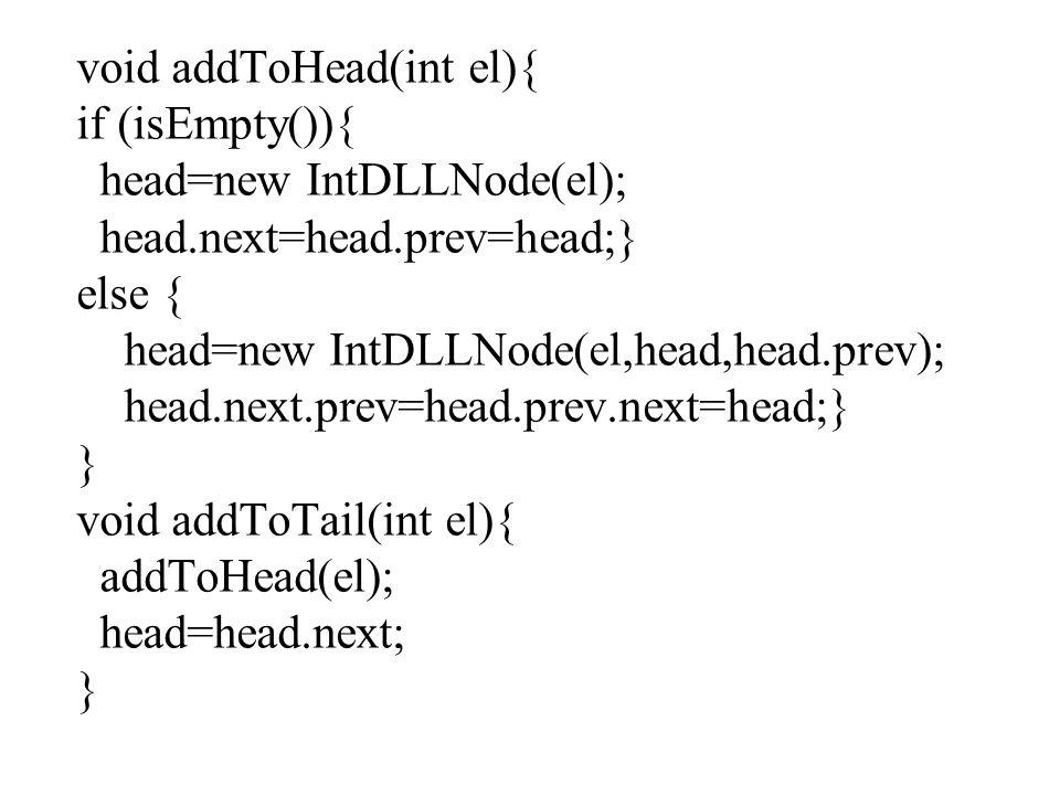 void addToHead(int el){ if (isEmpty()){ head=new IntDLLNode(el); head.next=head.prev=head;} else { head=new IntDLLNode(el,head,head.prev); head.next.prev=head.prev.next=head;} } void addToTail(int el){ addToHead(el); head=head.next; }