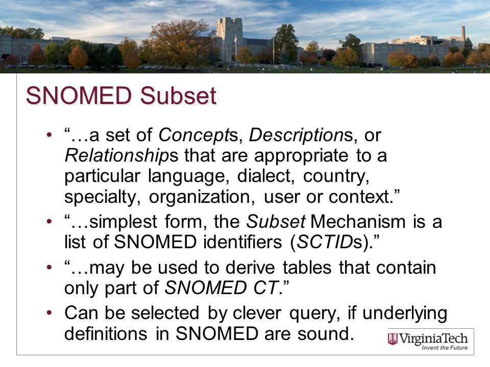 SNOMED Subset …a set of Concepts, Descriptions, or Relationships that are appropriate to a particular language, dialect, country, specialty, organization, user or context.
