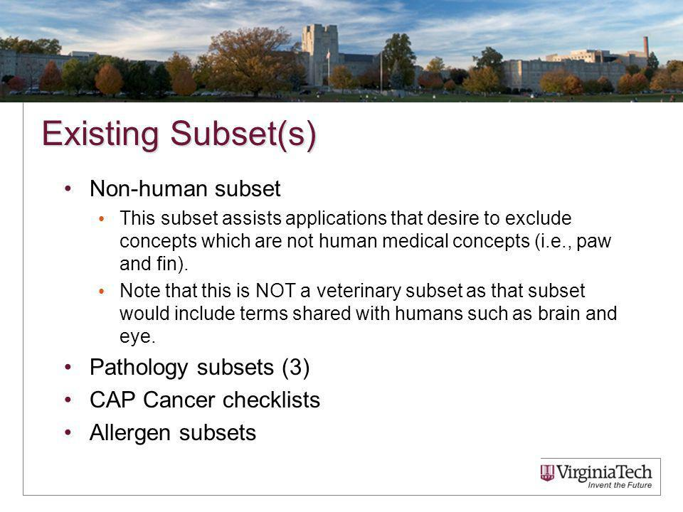 Existing Subset(s) Non-human subset This subset assists applications that desire to exclude concepts which are not human medical concepts (i.e., paw and fin).