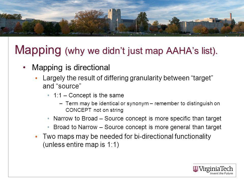 Mapping (why we didnt just map AAHAs list).