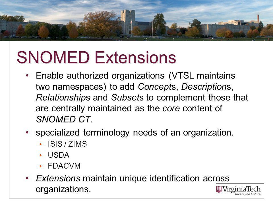 SNOMED Extensions Enable authorized organizations (VTSL maintains two namespaces) to add Concepts, Descriptions, Relationships and Subsets to complement those that are centrally maintained as the core content of SNOMED CT.