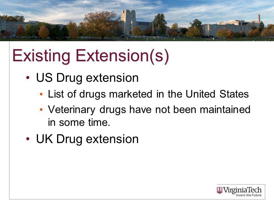 Existing Extension(s) US Drug extension List of drugs marketed in the United States Veterinary drugs have not been maintained in some time.