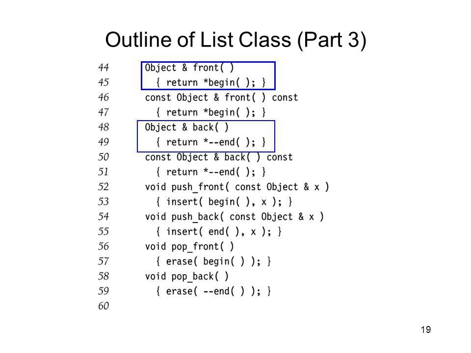 19 Outline of List Class (Part 3)
