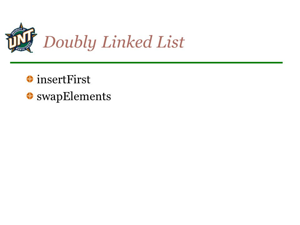 Doubly Linked List insertFirst swapElements