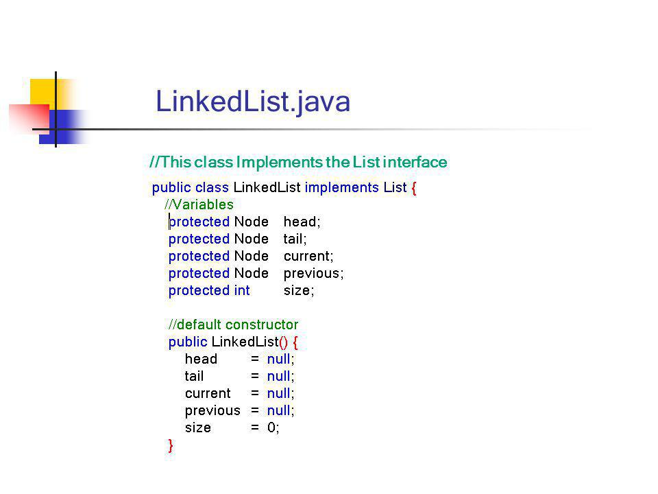LinkedList.java //This class Implements the List interface
