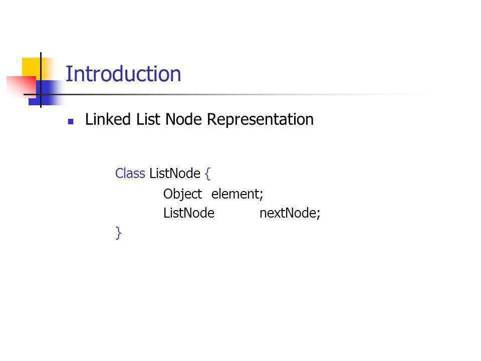 Introduction Linked List Node Representation Class ListNode { Object element; ListNodenextNode; }