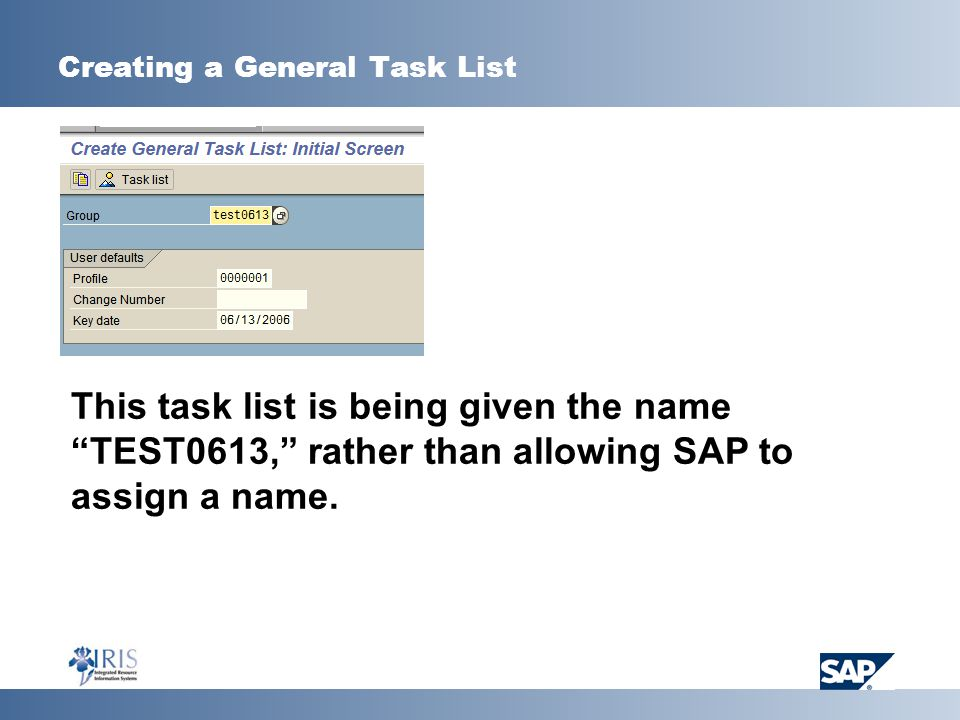 Creating a General Task List This task list is being given the name TEST0613, rather than allowing SAP to assign a name.