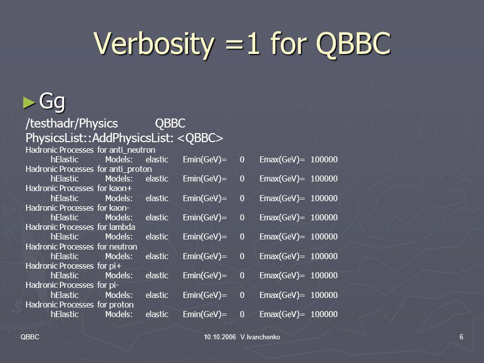 QBBC10.10.2006 V.Ivanchenko6 Verbosity =1 for QBBC Gg Gg /testhadr/Physics QBBC PhysicsList::AddPhysicsList: Hadronic Processes for anti_neutron hElas