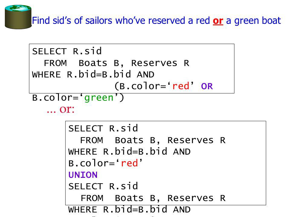 Find sids of sailors whove reserved a red or a green boat SELECT R.sid FROM Boats B, Reserves R WHERE R.bid=B.bid AND (B.color=red OR B.color=green) SELECT R.sid FROM Boats B, Reserves R WHERE R.bid=B.bid AND B.color=red UNION SELECT R.sid FROM Boats B, Reserves R WHERE R.bid=B.bid AND B.color=green...