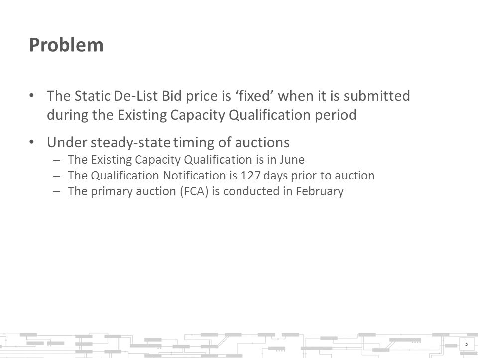 Problem The Static De-List Bid price is fixed when it is submitted during the Existing Capacity Qualification period Under steady-state timing of auctions – The Existing Capacity Qualification is in June – The Qualification Notification is 127 days prior to auction – The primary auction (FCA) is conducted in February 5