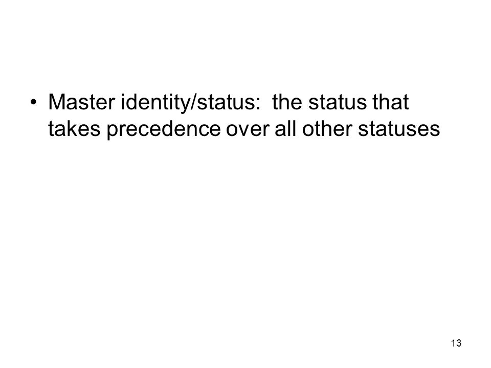 13 Master identity/status: the status that takes precedence over all other statuses