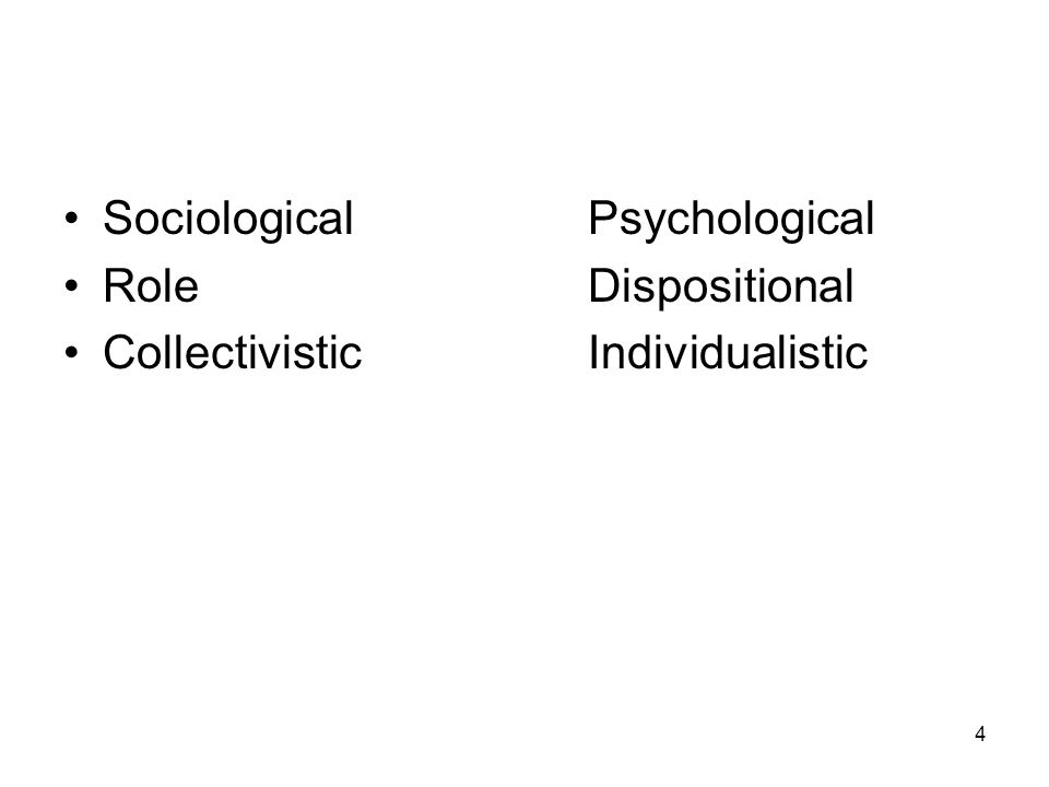 4 SociologicalPsychological Role Dispositional CollectivisticIndividualistic