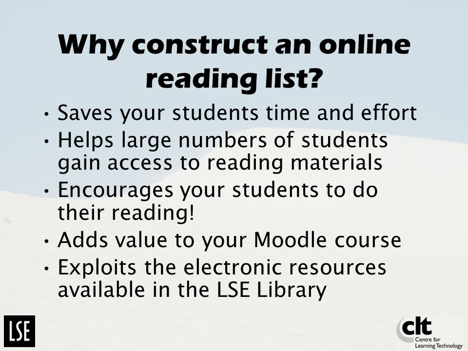 Why construct an online reading list.