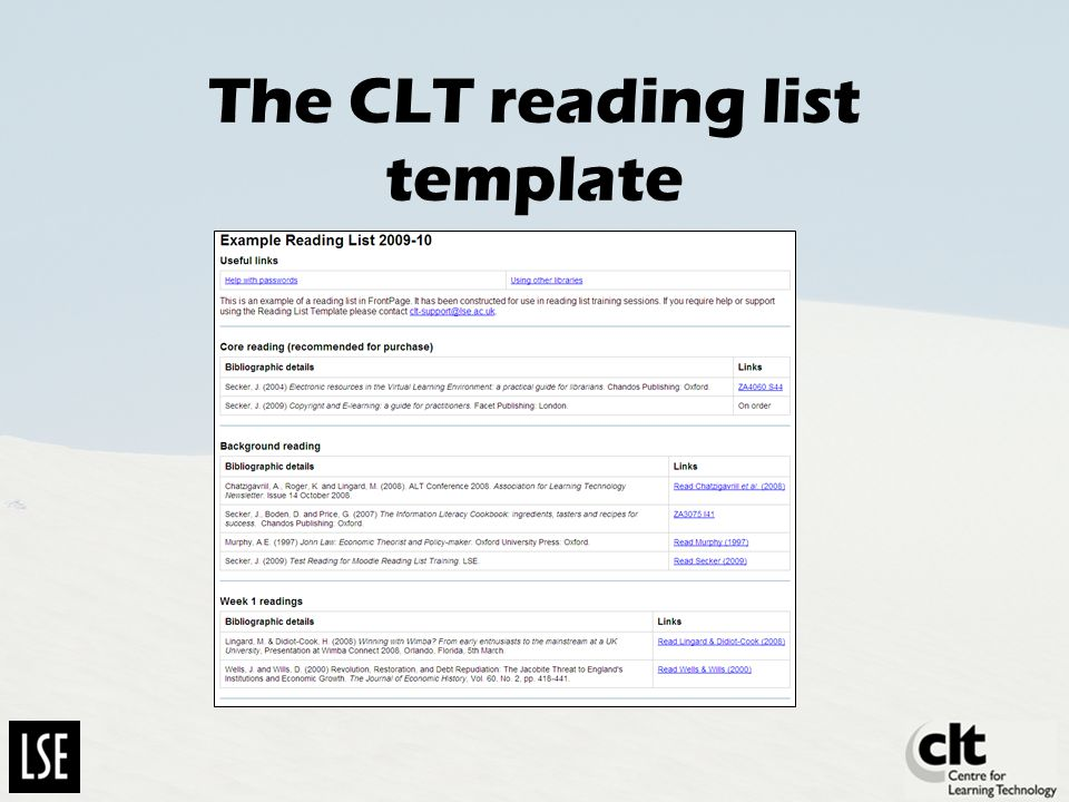 The CLT reading list template