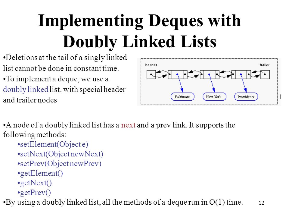 12 Implementing Deques with Doubly Linked Lists Deletions at the tail of a singly linked list cannot be done in constant time. To implement a deque, w
