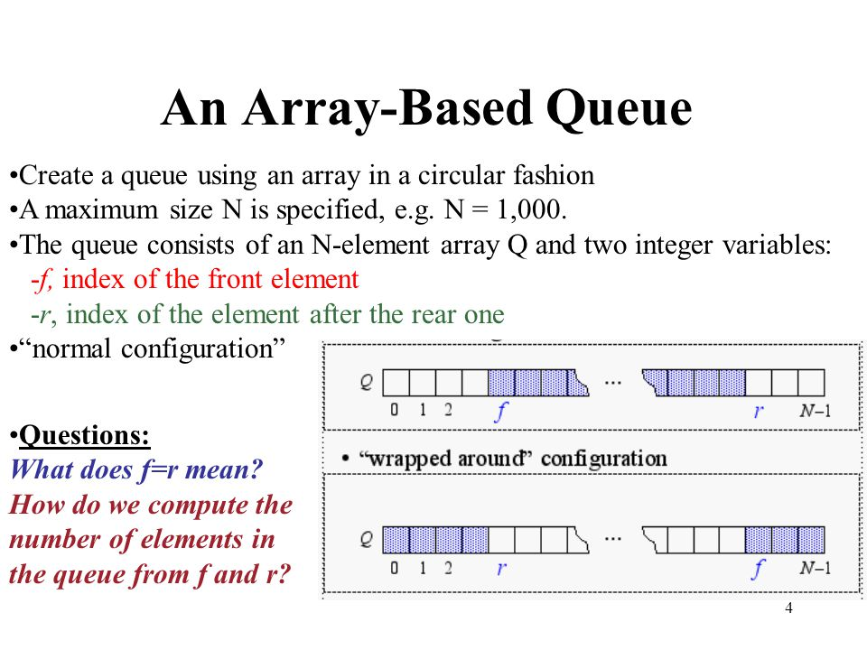 4 An Array-Based Queue Create a queue using an array in a circular fashion A maximum size N is specified, e.g. N = 1,000. The queue consists of an N-e