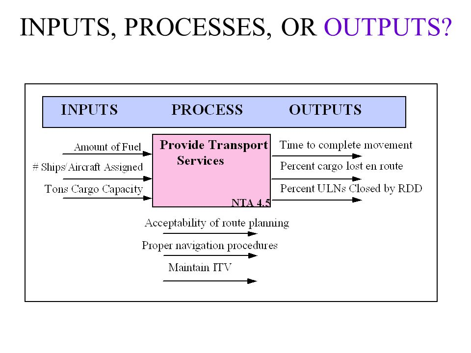 INPUTS, PROCESSES, OR OUTPUTS?