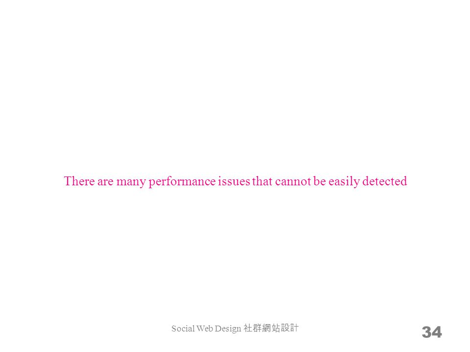 34 There are many performance issues that cannot be easily detected Social Web Design