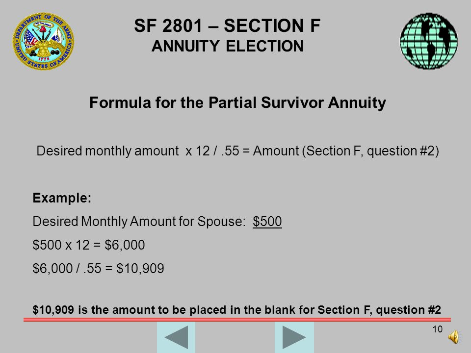 9 SF 2801 – SECTION F ANNUITY ELECTION