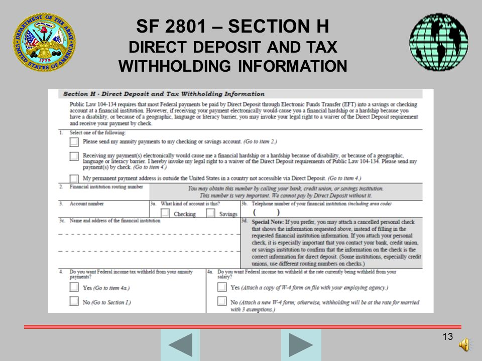 12 SF 2801 – SECTION G INFORMATION ABOUT YOUR UNMARRIED DEPENDENT CHILDREN