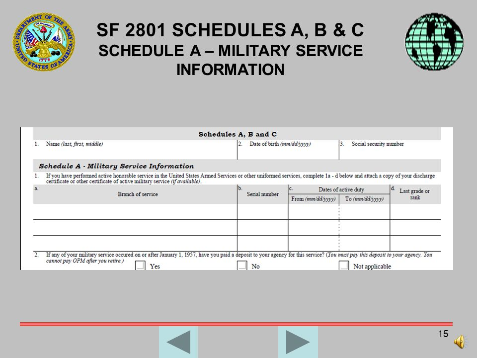 14 SF 2801 – SECTION I APPLICANTS CERTIFICATION AND CHECKLIST