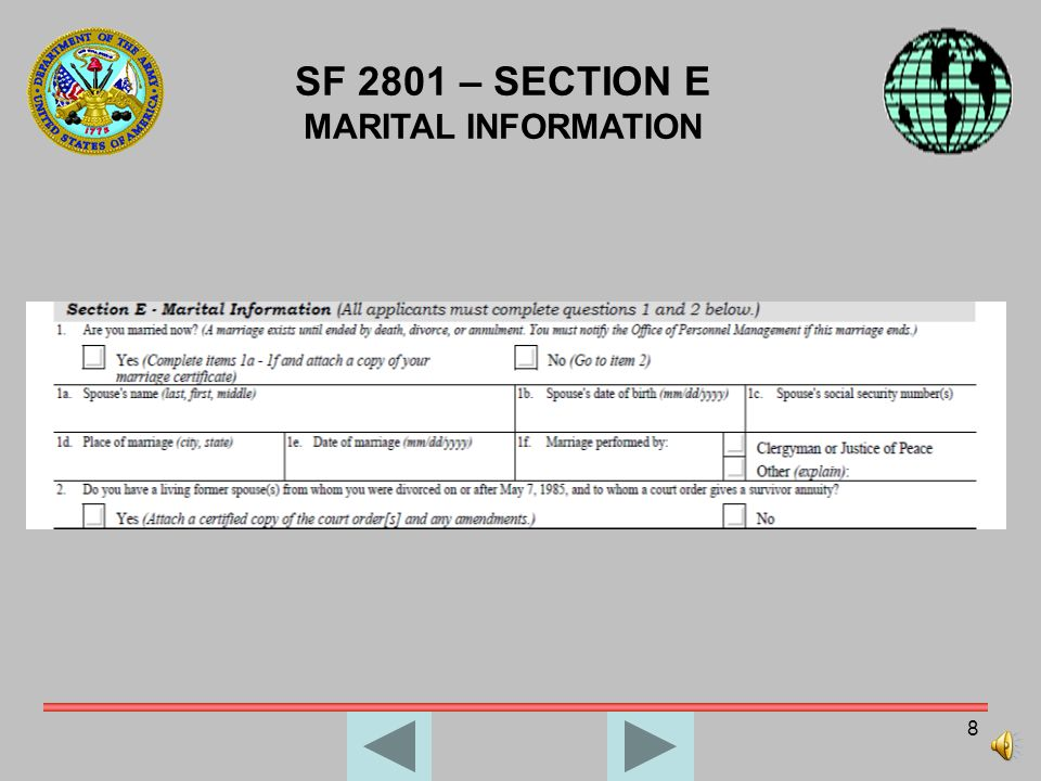 7 SF 2801 – SECTION D INSURANCE INFORMATION