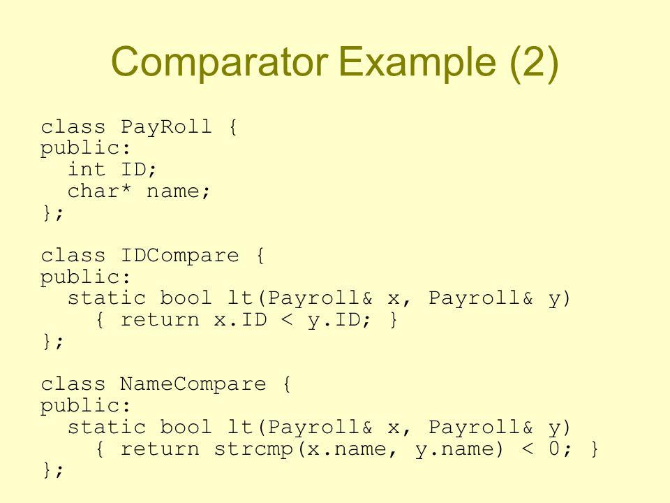 Comparator Example (2) class PayRoll { public: int ID; char* name; }; class IDCompare { public: static bool lt(Payroll& x, Payroll& y) { return x.ID < y.ID; } }; class NameCompare { public: static bool lt(Payroll& x, Payroll& y) { return strcmp(x.name, y.name) < 0; } };