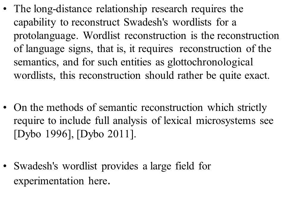 The long-distance relationship research requires the capability to reconstruct Swadesh s wordlists for a protolanguage.